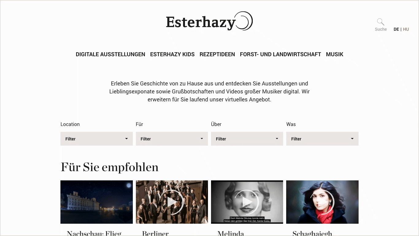 Website esterhazy@home Videoportal