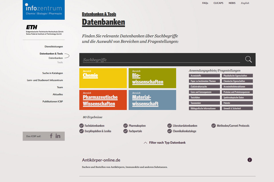 Website Infozentrum ETH Zürich