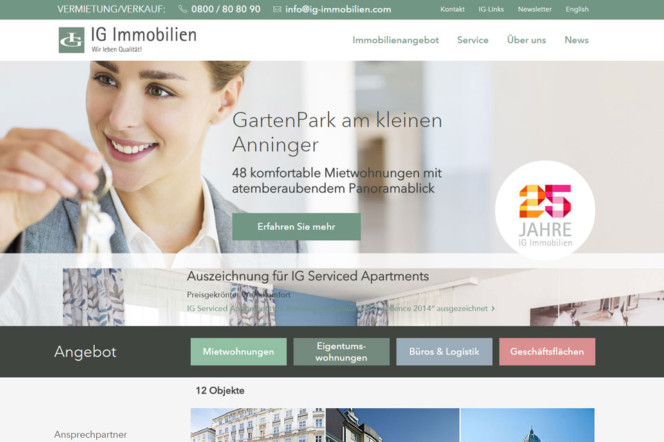 Website IG-Immobilien