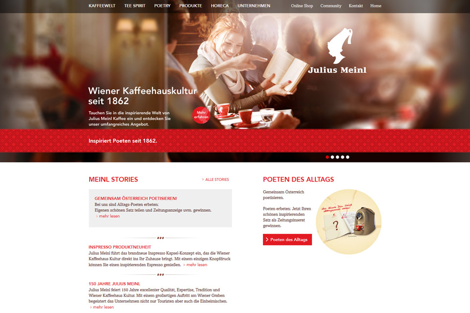 Website Julius Meinl Kaffee