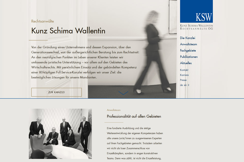 Website Kunz Schima Wallentin