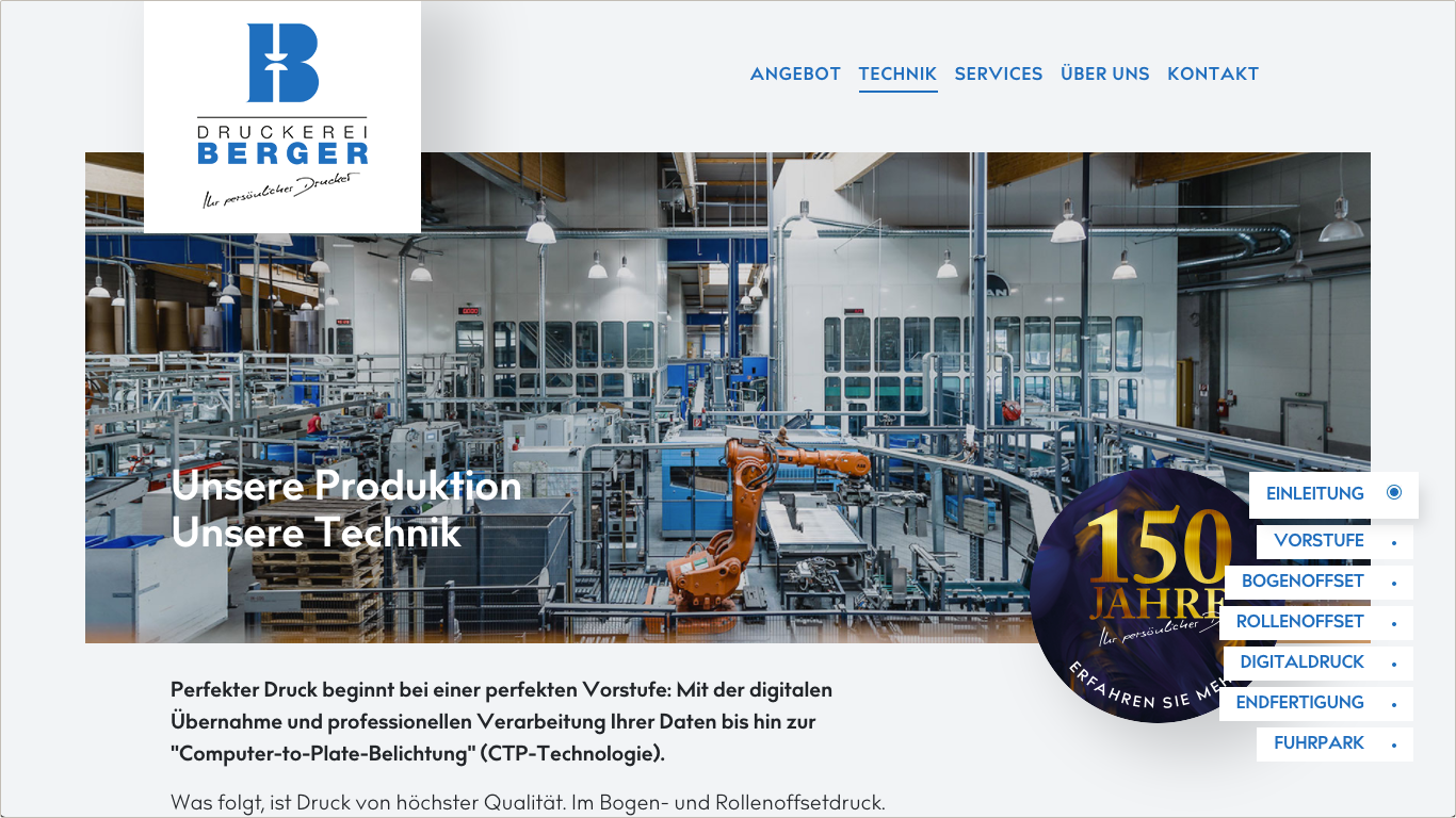 Website Druckerei Berger